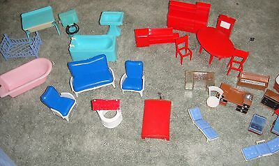 Vintage plastic Dolls House Furniture bundle