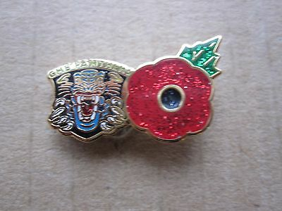 Nottingham Panthers Logo And Poppy Pin Badge
