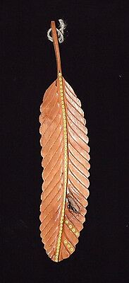 Feather Red Tail Hawk Hand Painted Chainsaw Carved Feather By Blackfoot Artist