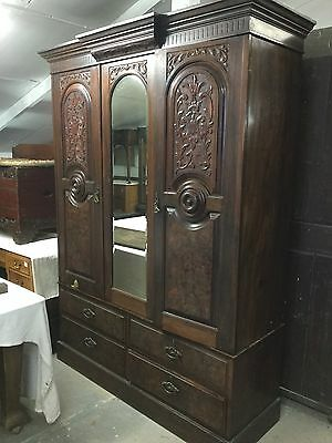 Antique Mirror Double Wardrobe With Carved Detailing