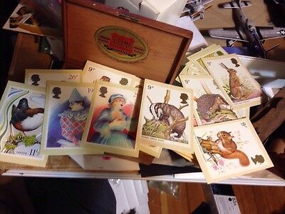 CIGAR BOX of POSTCARDS misc. vintage european , Canadian . 111 Yr Old Leather