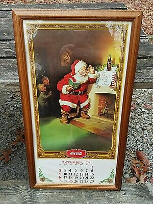 Coca Cola Calendar 1973 December Santa Framed
