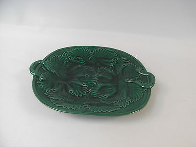 Pottery Table Dish with Green Leaf and Stem Design