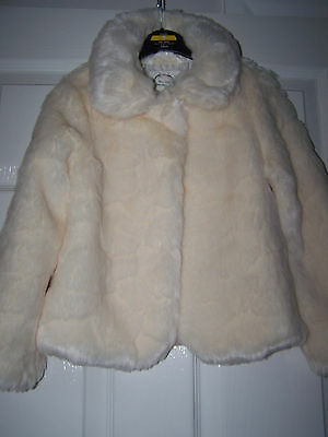 Girls soft fur jacket age  5 - 6 years M & S vgc