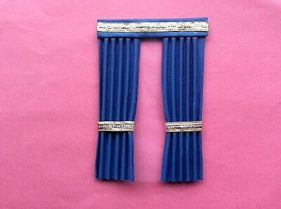 "1 deep blue  house curtains  5""X 6.75"""