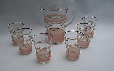Vintage Retro Art Deco Pink/peach  Frosted Glass Jug And 6 Lemonade Glasses