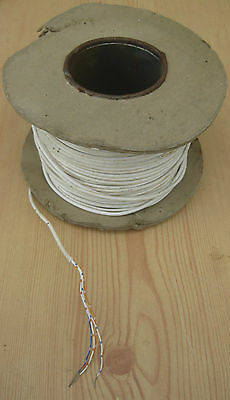 100m REEL OF WHITE TELECOM 2 PAIR CABLE WIRE SMALL AMOUNT USED PHONE EXTENSION