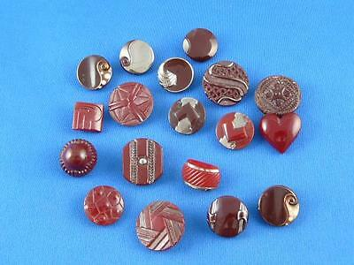 Vintage Unique Authentic Art Deco Czech Glass Buttons - 18 pcs - 18mm, 22mm 56