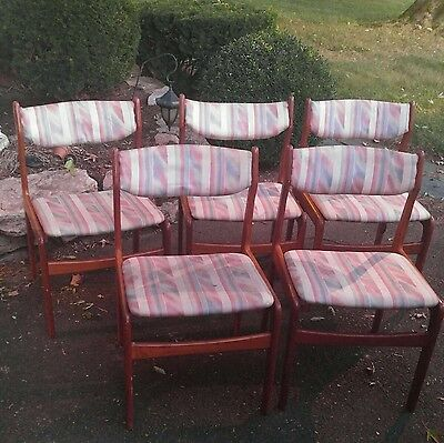 Vintage mid century Danish Modern Teak wood Dining chairs set of 5