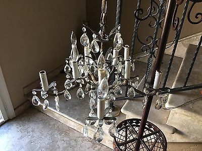 Very Nice Crystal Chandelier With Glass Prisms - 21 Inch Wide X 14 Inch Tall