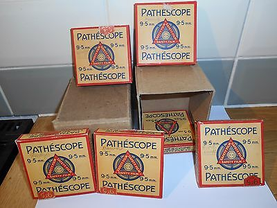 6 boxed  Old Pathescope 9.5mm silent movie films, unseen