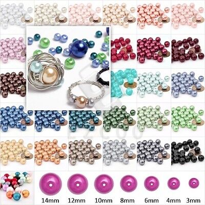 150pcs Glass Pearl Round Beads Jewellery Finding Making Various Colours 6mm