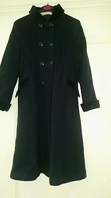 Navy Girls Traditional Wool Double Breaded Coat velvet collar & cuffs