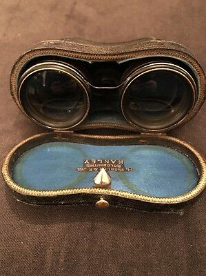 ANTIQUE OPERA GLASSES IN SILK LINED CASE, By H. Piddock Hanley (954) Steampunk