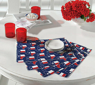 TEXAS FLAG PLACEMAT SET Set of 4 Placemats! Lone Star Placemats Cotton & Lined!