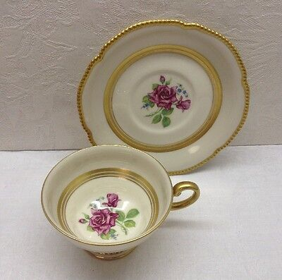 Castleton China - C54 - Cup And Saucer - Usa, Rose Floral, Gold Beaded Edge