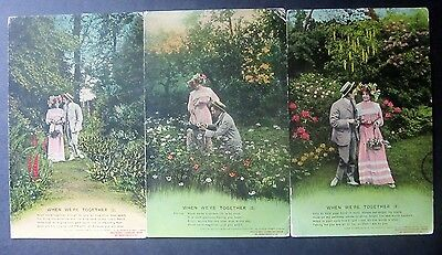Bamforth Song Card Set: 'When We're Together'. Posted Newhaven, 1909.