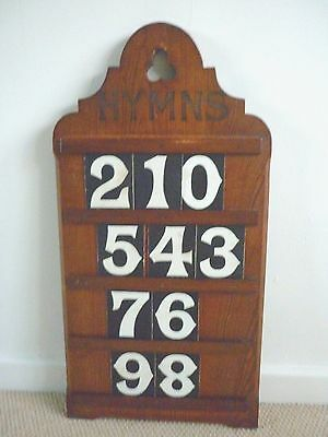 ANTIQUE VINTAGE PINE HYMN BOARD WITH Original Card HYMN NUMBERS