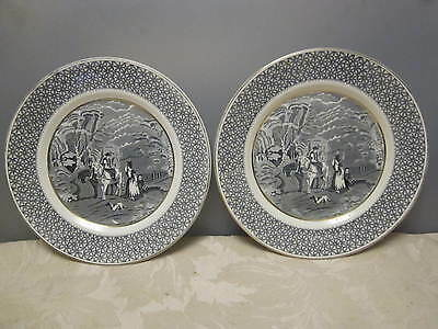 """Pair of Victoria Porcelain Fenton (china) """"Rustic"""" 10 inches Dinner Plates"""