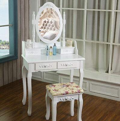 4 Drawers Elegant Dressing Vanity Makeup Table With Oval Mirror and Stool Set UK