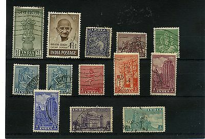 India 13 -- Used 1948/9 Stamps On Stockcard