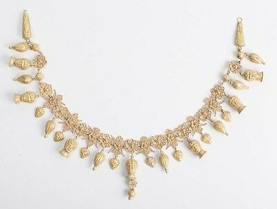 Fabulous Roman Style Gold Necklace with Figures. Size 13 1/2 inches length