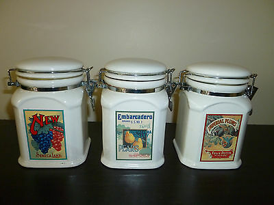 Set of 3 White Porcelain Ceramic Canisters, Retro Housewares
