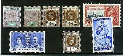 Leeward Islands. 8 -- Mounted Mint Qv/g6 Stamps On Stockcard