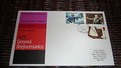 GB FDC  - 1972 GENERAL ANNIVERSARIES - POSTMARK - CORNWALL with insert.