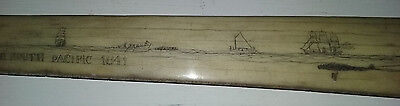 1841 South Pacific Folk Art whaling scene scrimshaw carved swordfish New Bedford