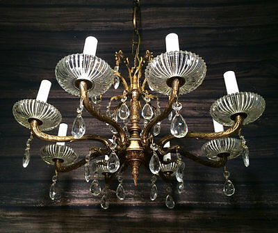 Antique Vintage Brass and Crystal Chandelier Hanging Light Fixture