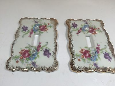 Vintage Nor rest J58 Porcelain Pair Of Switch Covers