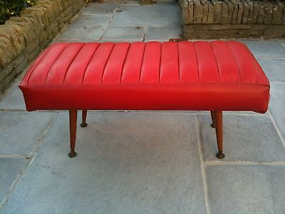 MID CENTURY RED VINYL FOOTSTOOL WITH DANSETTE LEGS 1950s/1960s