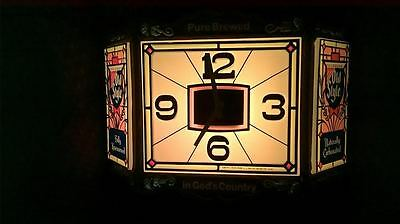 1983 HEILEMAN'S OLD STYLE Plastic Bar Clock & Light = Both Working Great!