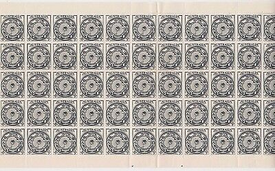 Stamps 1954 Australia AAT 3&1/2d black ANARE issue sheet of 60 inc perf pips