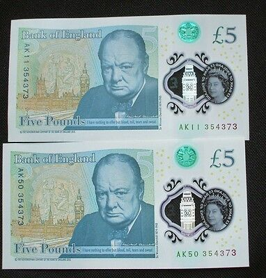 polymer £5 notes x 2 bank of england(same number)