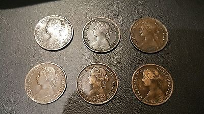 coins Farthings x 6 beautiful grades and colour