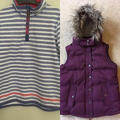 Girls Fat Face Bodywarmer/gilet & Stripe Top Zip Up Jumper - 8-9