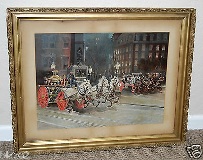 Buchanan & Lyall Horse Drawn Steam Fire Engine And  Water Tower Lithograph