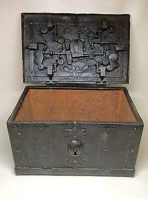 Very Rare 16th 17th Century Solid Wrought Iron Strong Box Armada Chest Nuremberg
