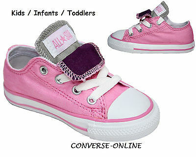 Infants Girl CONVERSE All Star PINK PURPLE DOUBLE TONGUE Trainers Shoe SIZE UK 6