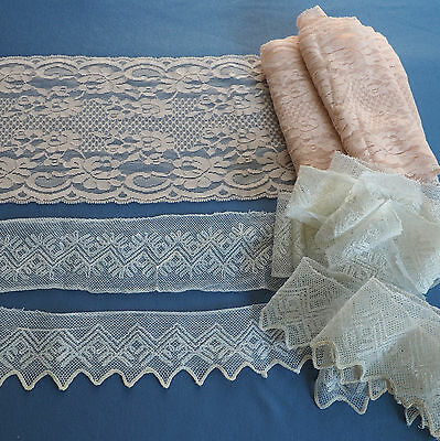 Vintage Lace Lot Embroidered Cotton Tulle Wide Pink Trim Many Yards