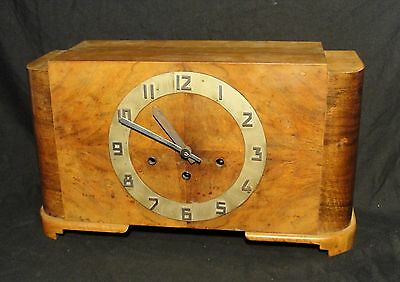 SPLENDID ART DECO MANTLE CLOCK with WESTMINSTER CHIMES in WALNUT CASE in vgc