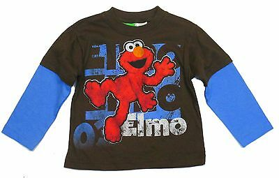 Sesame Street Elmo Long Sleeve Layered Graphic T-Shirt Brown Toddler Boys 2T-4T