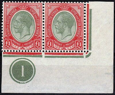 South Africa 1913 KGV SG17a Control Pair Mint - Very Scarce!!  High Cat Value