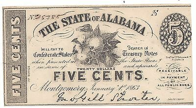 5c Fractional Note The State of Alabama 1863