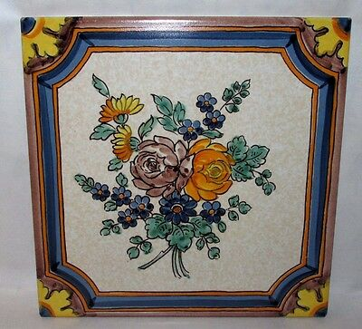 "Vintage Semigres 8"" Hand Painted Floral Ceramic Tile Italy Flowers Teracotta"