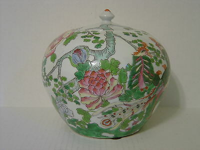 Vintage Large Porcelain Ginger Jar With Peacocks And Chrysanthemums Signed