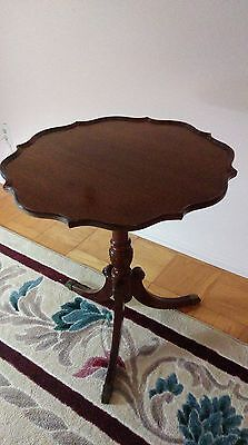 Vintage Solid Mahogany Carved Pie Crust Side Table