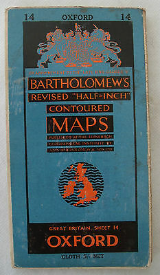 Vintage OXFORD Bartholomews Map 1955 - Cloth- Sheet 14 - Genealogy - History